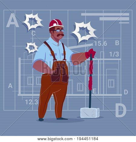 Cartoon African American Builder Holding Big Hammer Construction Worker Over Abstract Plan Background Male Workman Flat Vector Illustration