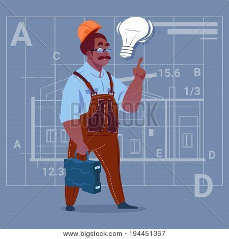 Cartoon African American Builder With Light Bulb Wearing Uniform And Helmet Construction Worker Over Abstract Plan Background Male Workman Flat Vector Illustration