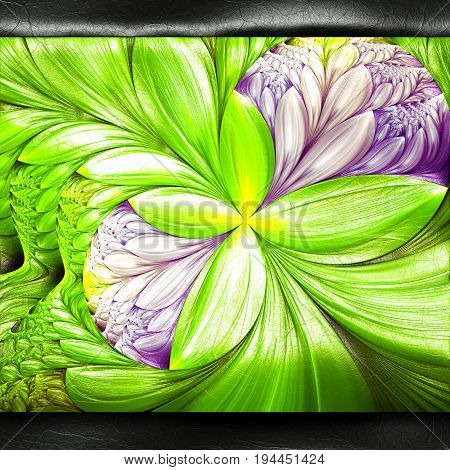 3D rendering of plastic background with embossed flower fractal on leather