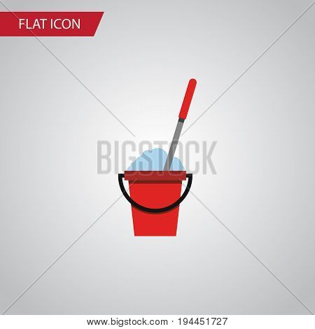 Isolated Cleaning Flat Icon. Bucket Vector Element Can Be Used For Bucket, Mop, Cleaning Design Concept.