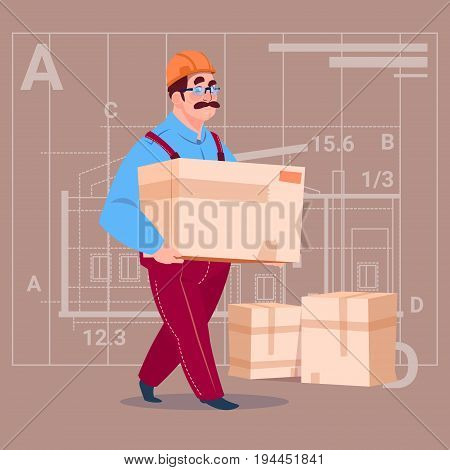 Cartoon Builder Carry Box Wearing Uniform And Helmet Construction Worker Over Abstract Plan Background Male Workman Flat Vector Illustration