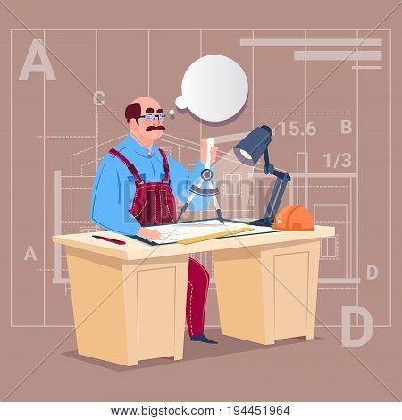 Cartoon Builder Sitting At Desk Working On Blueprint Building Plan Architect Engineer Flat Vector Illustration