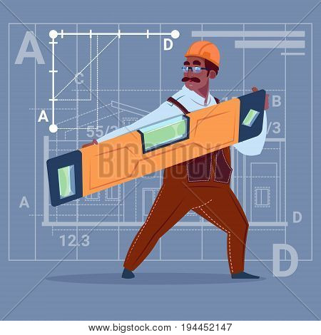 Cartoon African American Builder Holding Carpenter Level Wearing Uniform And Helmet Construction Worker Over Abstract Plan Background Flat Vector Illustration
