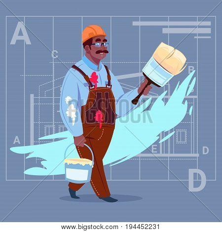 Cartoon African American Painter Hold Paint Brush Decorator Builder Wearing Uniform And Helmet Flat Vector Illustration