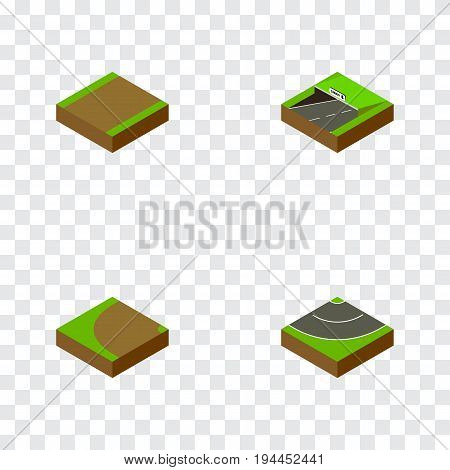 Isometric Road Set Of Turning, Road, Subway And Other Vector Objects. Also Includes Subway, Rotation, Turning Elements.