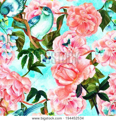 Seamless pattern of watercolor drawings of vibrant teal blue birds, blooming pink roses, camellias, peonies, and butterflies, hand painted on a teal blue background texture