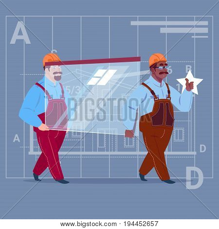 Two Cartoon Builders Carry Glass Wearing Uniform And Helmet Construction Worker Over Abstract Plan Background Male Workman Flat Vector Illustration