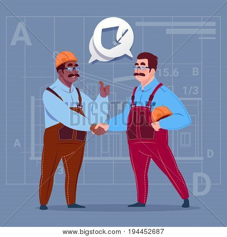 Two Mix Race Builders Shaking Hands Agreement Concept Cartoon Business Man Workman Cooperation Flat Vector Illustration