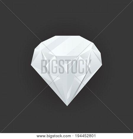 Vector shiny gem and diamond. Magic crystal on black background. Bright shining jewel