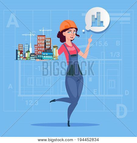 Cartoon Female Builder Holding Small House Ready Real Estate Over Abstract Plan Background Flat Vector Illustration