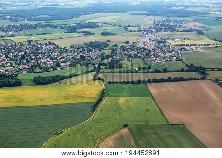 Aerial view of countryside and villages near Lyon, France