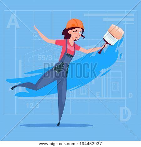 Cartoon Female Painter Hold Paint Brush Decorator Builder Wearing Uniform And Helmet Flat Vector Illustration