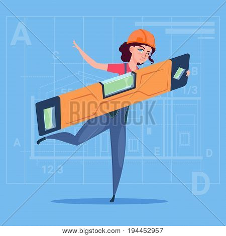 Cartoon Woman Builder Holding Carpenter Level Wearing Uniform And Helmet Construction Worker Over Abstract Plan Background Flat Vector Illustration