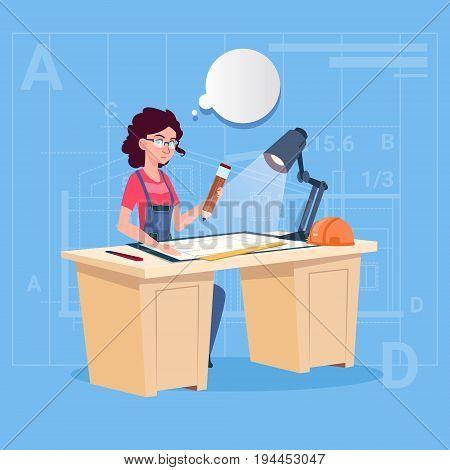Cartoon Woman Builder Sitting At Desk Working On Blueprint Building Plan Architect Engineer Flat Vector Illustration