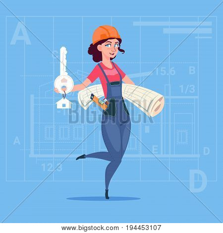 Cartoon Female Builder Holding Key From New House And Blueprint Over Abstract Plan Background Flat Vector Illustration