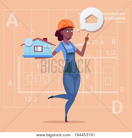 Cartoon Female Builder Holding Small House Ready Real Estate Over Abstract Plan Background African American Worker Flat Vector Illustration