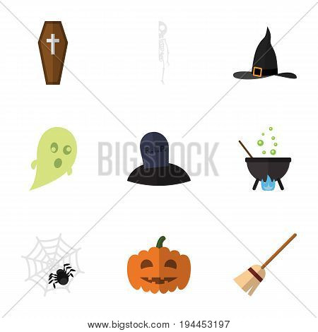 Flat Icon Festival Set Of Magic, Casket, Spinner And Other Vector Objects. Also Includes Arachnid, Cranium, Grave Elements.