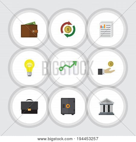 Flat Icon Finance Set Of Document, Bubl, Growth And Other Vector Objects. Also Includes Bank, Document, Strongbox Elements.