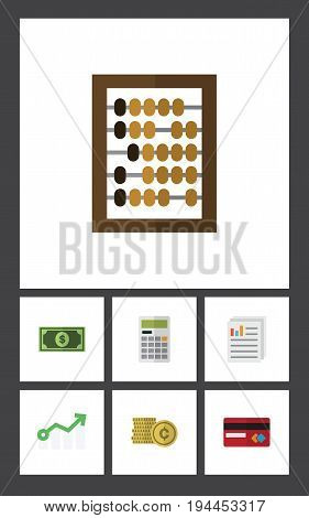 Flat Icon Gain Set Of Calculate, Growth, Payment And Other Vector Objects. Also Includes Cash, Paper, Document Elements.