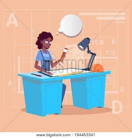 Cartoon African American Builder Sitting At Desk Working On Blueprint Building Plan Architect Engineer Woman Flat Vector Illustration