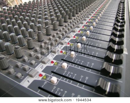 Sliders And Knobs On A Sound Mixer