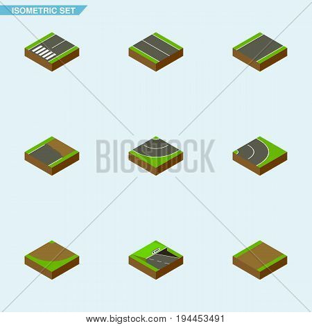 Isometric Road Set Of Footpath, Underground, Turn And Other Vector Objects. Also Includes Unfinished, Flat, Unilateral Elements.