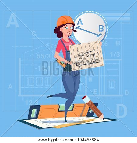 Cartoon Builder Woman Hold Plan Of Building Blueprint Wearing Uniform And Helmet Construction Worker Contractor Flat Vector Illustration