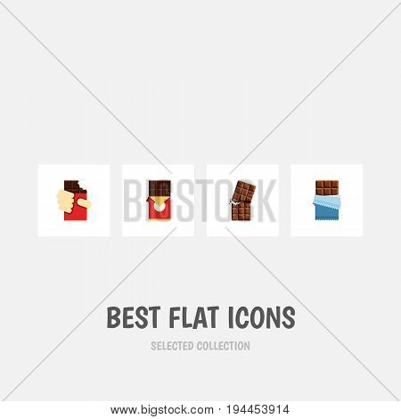 Flat Icon Bitter Set Of Shaped Box, Wrapper, Chocolate Bar And Other Vector Objects. Also Includes Chocolate, Dessert, Box Elements.