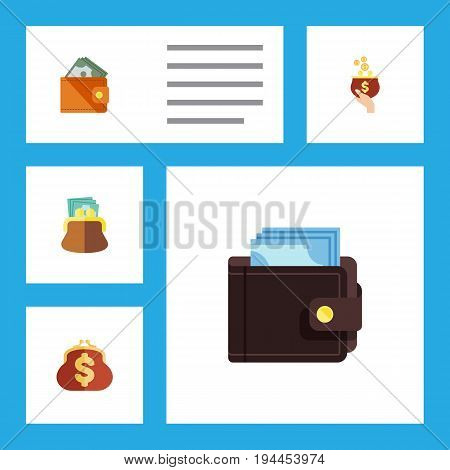 Flat Icon Purse Set Of Saving, Currency, Wallet And Other Vector Objects. Also Includes Saving, Pouch, Billfold Elements.