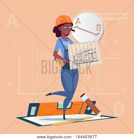 Cartoon Builder Woman Hold Plan Of Building Blueprint Wearing Uniform And Helmet Mix Race Construction Worker Contractor Flat Vector Illustration