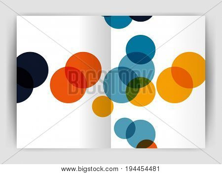 Abstract circles, annual report cover. Modern business brochure template. Business flyer abstract background