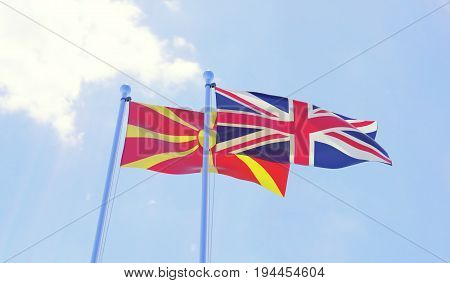 Macedonia and Great Britain, two flags waving against blue sky. 3d image