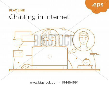 Communication on the Internet by the lines of flat. Girl with laptop correspondence with boy