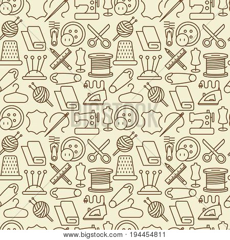 Seamless pattern with sewing equipment thin line icons: sewing machine, needle, thread, iron. Vector illustration.