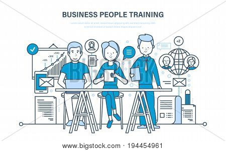Business people training, education, consulting, learning, teaching, professional, career growth, teamwork, knowledge skills Illustration thin line design of vector doodles infographics elements
