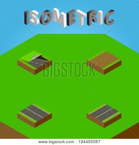 Isometric Way Set Of Plane, Footpath, Underground And Other Vector Objects. Also Includes Plane, Subway, Highway Elements.
