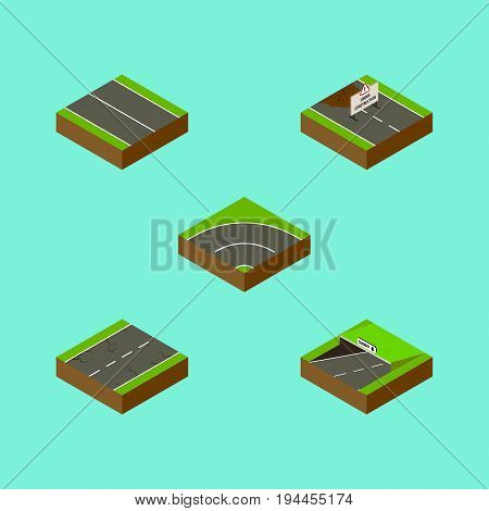 Isometric Way Set Of Repairs, Cracks, Flat And Other Vector Objects. Also Includes Underground, Asphalt, Subway Elements.