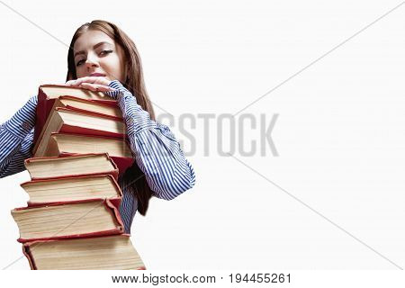 Young beautiful Student Girl with Books on white bacckground (Education and self development)