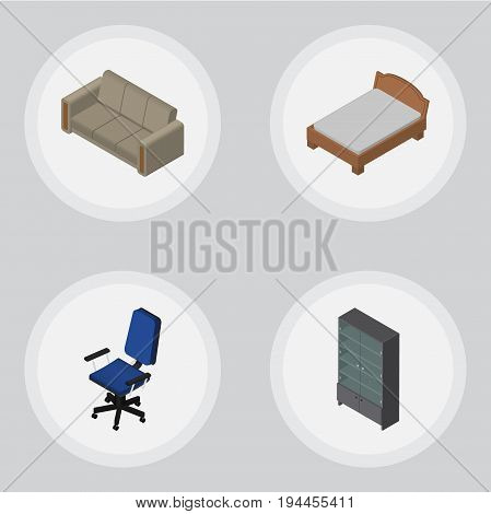 Isometric Design Set Of Office, Sideboard, Bedstead And Other Vector Objects. Also Includes Settee, Sofa, Sideboard Elements.