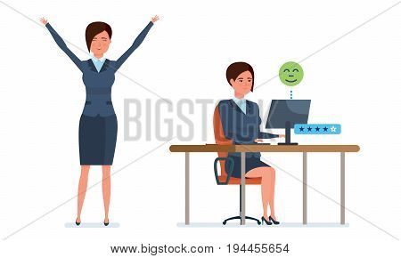 Businesswoman in office work situations. Communication, technical support, dialog with clients, consultations, ratings and reviews. Womens character working in office. Cartoon vector illustration