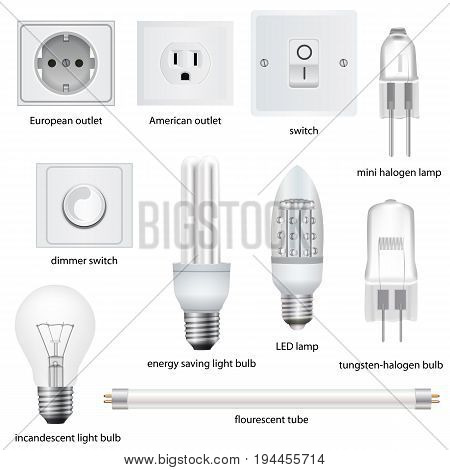 Different kinds of outlets, lamps, switches with names. Vector realistic illustration
