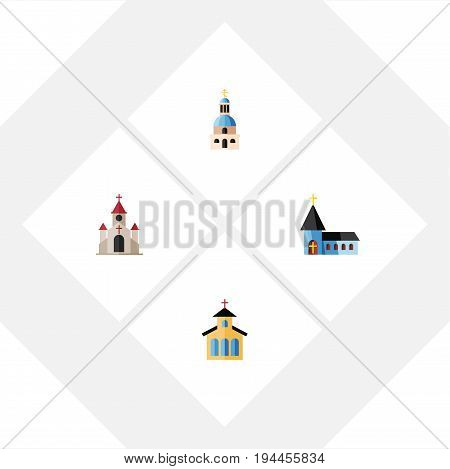 Flat Icon Building Set Of Catholic, Traditional, Christian And Other Vector Objects. Also Includes Catholic, Building, Structure Elements.