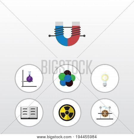 Flat Icon Knowledge Set Of Attractive Force, Lightbulb, Irradiation And Other Vector Objects. Also Includes Lightbulb, Test, Magnet Elements.