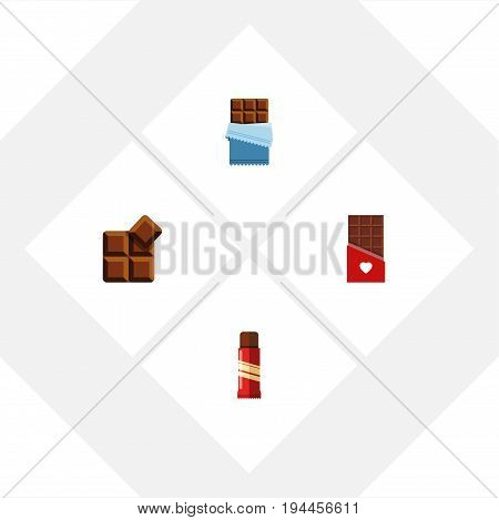 Flat Icon Bitter Set Of Cocoa, Sweet, Chocolate And Other Vector Objects. Also Includes Sweet, Shaped, Cocoa Elements.