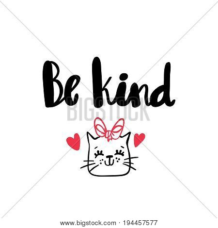 Be kind lettering hand drawn greeting card design logo