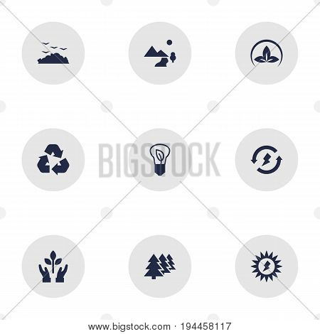 Set Of 9 Ecology Icons Set.Collection Of Renewable, Cleaning, Reforestation And Other Elements.