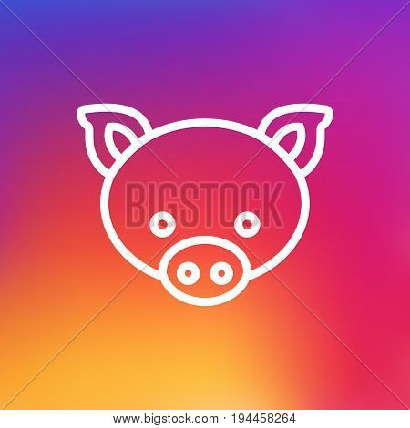 Isolated Swine Outline Symbol On Clean Background. Vector Pig Element In Trendy Style.