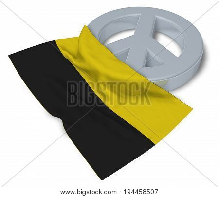 peace symbol and flag of saxony-anhalt - 3d rendering