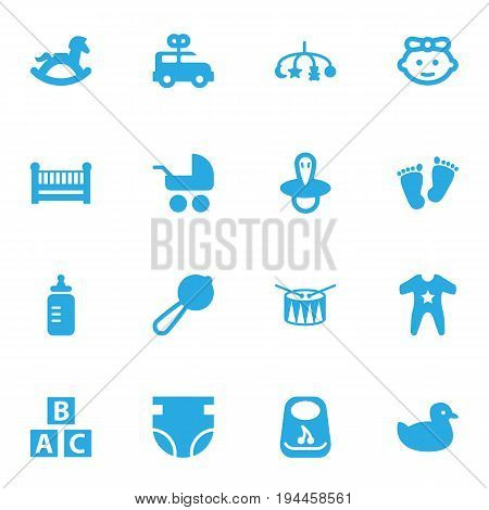 Set Of 16 Child Icons Set.Collection Of Smock, Cot, Teat And Other Elements.