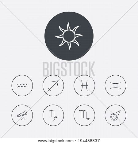 Set Of 9 Astrology Outline Icons Set.Collection Of Telescope, Scorpion, Sun And Other Elements.